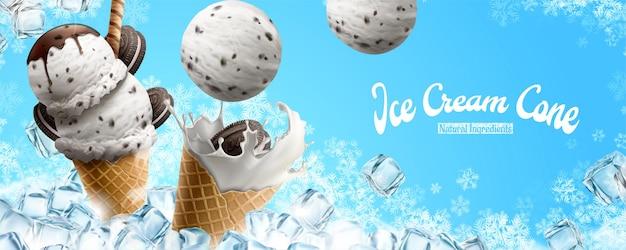 얼음 조각과 눈송이가있는 초콜릿 바닐라 아이스크림 콘 광고