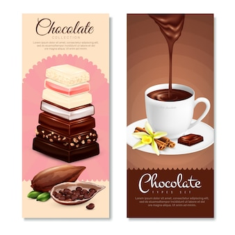 Chocolate vertical banners set