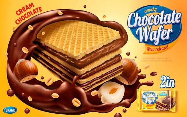 チョコレートウエハース広告、チョコレートシロップとナッツが黄色の背景に分離されたカリカリクッキー