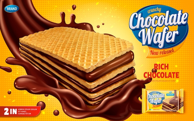 Chocolate wafer ads, crunchy cookies with chocolate syrup splashg the air isolated on yellow halftone background