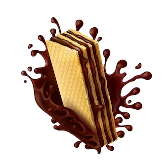 Chocolate wafer with melted chocolate splash