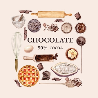 Chocolate watercolor ingredients, making chocolate bakery, leaves cocoa, butter, illustration