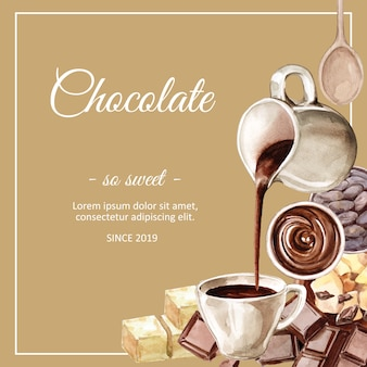 Chocolate watercolor ingredients, making chocolate drink cacoa and butter illustration
