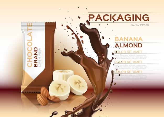 Chocolate with banana and almonds