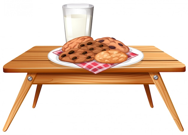 Chocolatechip cookies and milk on wooden table