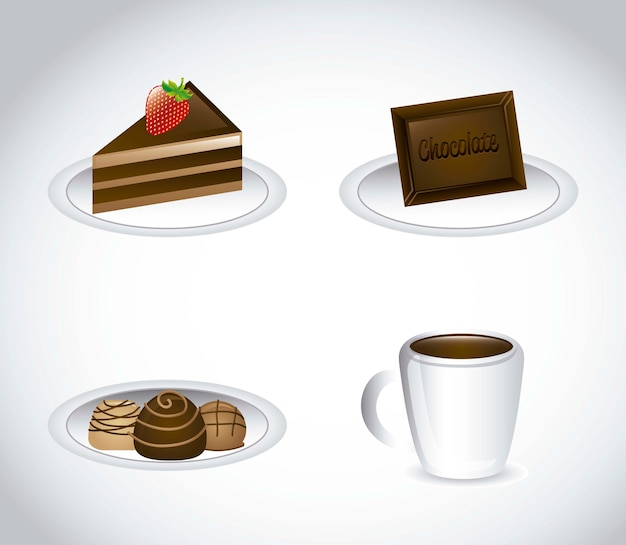 Chocolated elements over gray background vector illustration