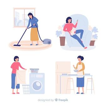 Ручной обращается женщина делает ее коллекцию choes