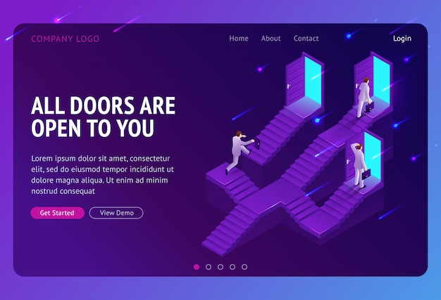 Choice, career ladder isometric landing page. business opportunity, way to success