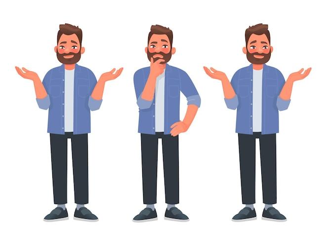 Concetto di scelta un uomo barbuto pensa e sceglie la decisione giusta tra due opzioni v