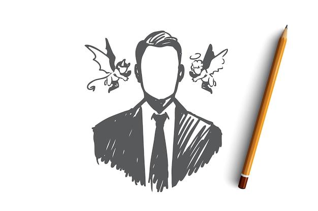 선택, 직감, 사업가, 의심, 반대 개념. 천사와 악마 그의 머리 개념 스케치 근처 손으로 그려진 된 사람.