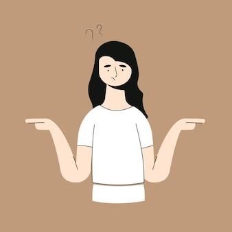 Выбор, мышление, сомнение, концепция проблемы. молодая задумчивая задумчивая запутанная сомнительная женщина девушка мультипликационный персонаж стоя и выбирая между двумя способами, указывающими в другой иллюстрации сторон.