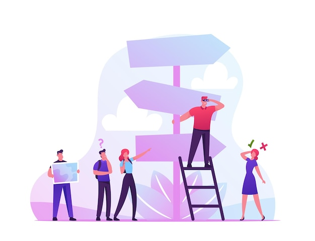 Choice way concept with confused business people stand at road pointer. cartoon flat illustration