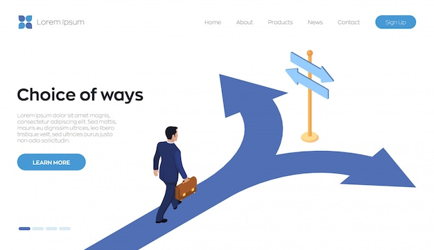 Choice of ways landing page . a businessman with a briefcase in hand is walking along the road to a crossroads.