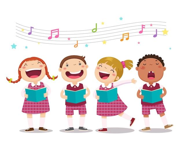 合唱団の女の子と男の子が歌を歌う