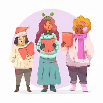 クリスマスキャロルのイラストを歌う人々の合唱団