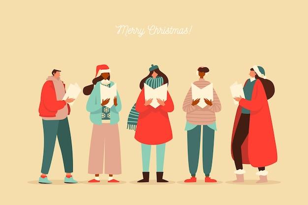 クリスマスキャロルを歌う人々の合唱団