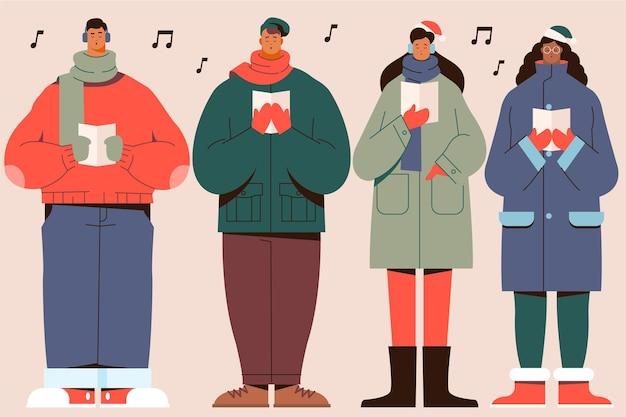 Хор людей, поющих рождественские гимны