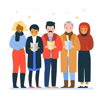 Choir of people singing christmas carol