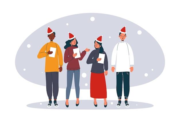 Coro di persone che cantano canti natalizi