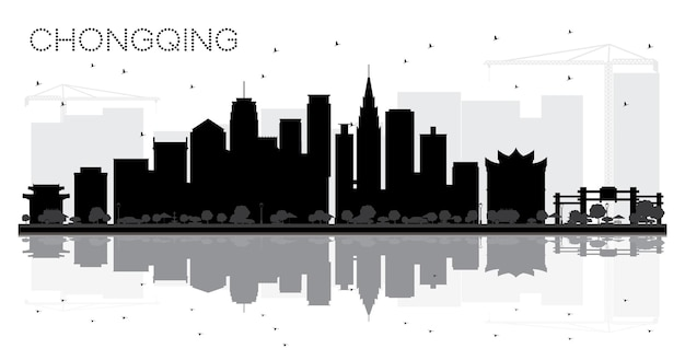 Chongqing china city skyline black and white silhouette with reflections. vector illustration. business travel concept. cityscape with landmarks.