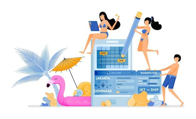 休暇中の航空券往復スケジュールを選択してください