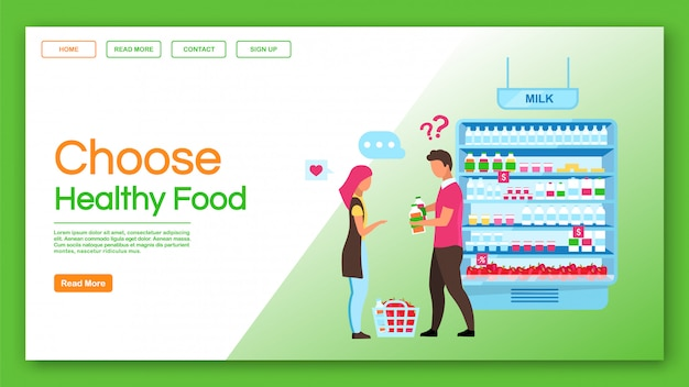 Choose healthy food landing page vector template. family shopping, consumerism website, webpage. consumers buying products, couple doing purchases in grocery store cartoon character, landing page