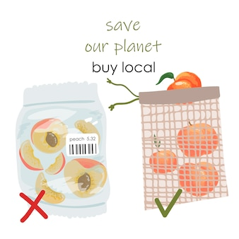 Choose plastic free. packed and sliced peaches in plastic bag with prohibition sign.