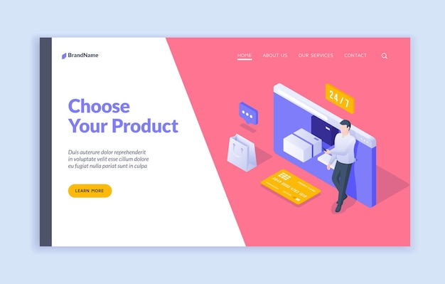 Choose your product landing page template