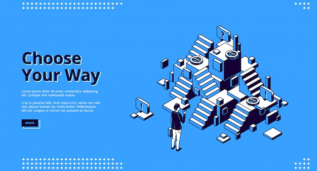 Choose your way isometric landing page, web banner