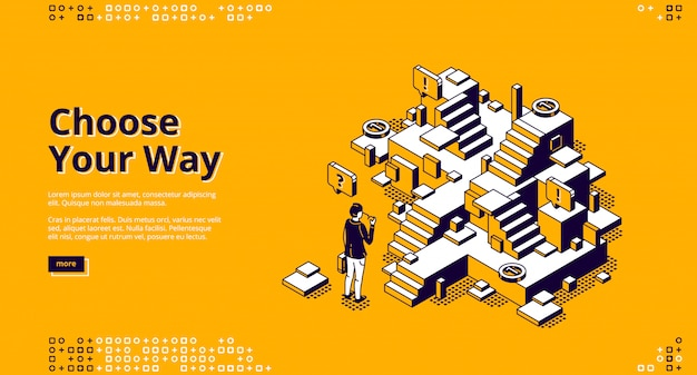 Choose your way isometric landing page