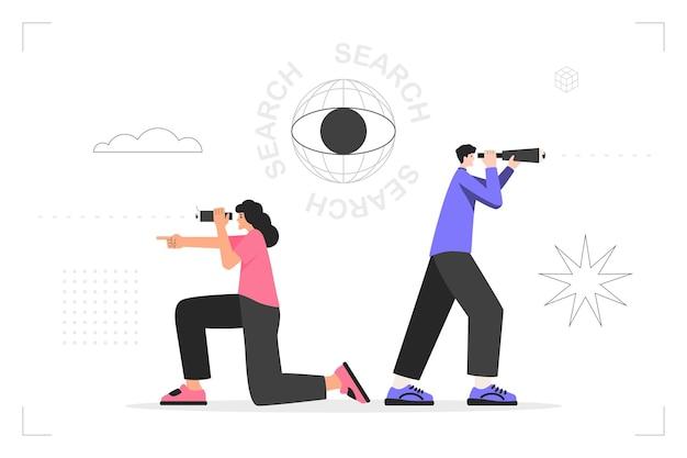 발전 방향을 선택하고, 사업 아이디어를 찾고, 미래 목표를 찾습니다. 망원경을 손에 든 남자와 쌍안경을 든 여자가 수색을 하고 있다. 벡터 유행 평면 그림