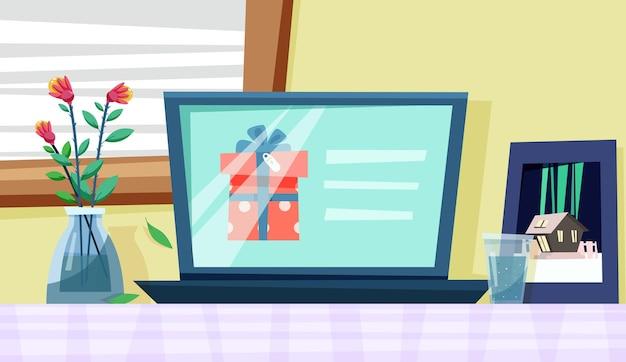 Выбор подарка онлайн на ноутбуке