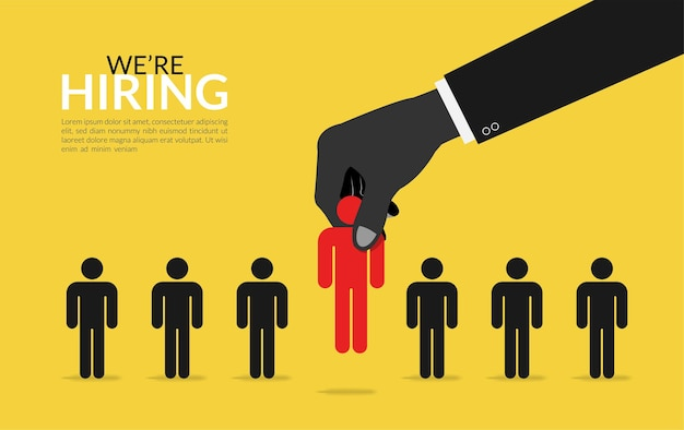 Choosing the best candidate concept. job recruitment with big hand picking best talent symbol  illustration.