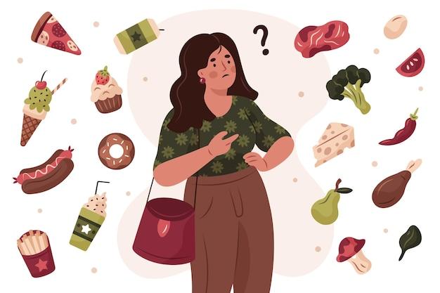 건강에 좋은 음식과 건강에 해로운 음식 사이에서 선택