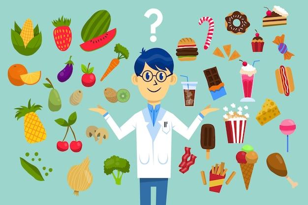 건강에 해로운 음식과 건강에 해로운 음식 선택 무료 벡터