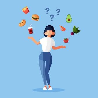 Choosing between healthy or unhealthy food