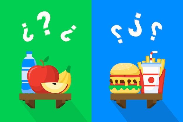Scegliere tra cibo sano o malsano