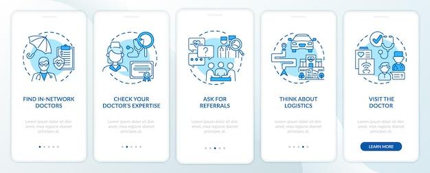 プライマリケア医のヒントを選択すると、コンセプトのある青いオンボーディングモバイルアプリページ画面が表示されます。医師のウォークスルー5ステップのグラフィックの説明。線形カラーイラスト付きのui、ux、guiテンプレート