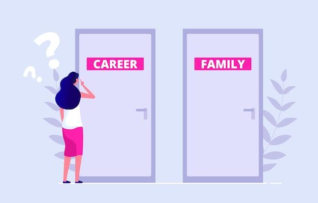 問題の選択。女性はキャリアと家族のどちらかを選択します。ワークライフバランス、ジェンダー不平等のベクトル図。平らな女性が閉じたドアの前に立っています。家族またはキャリア、女性の決定