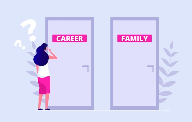 Choosing problem. female chooses between career and family. work family balance, gender inequality vector illustration. flat woman stands in front of closed door. family or career, woman decision