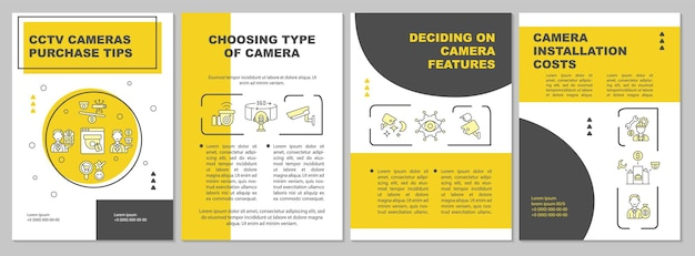 Choosing type of camera brochure template. camera features. flyer, booklet, leaflet print, cover design with linear icons. vector layouts for presentation, annual reports, advertisement pages