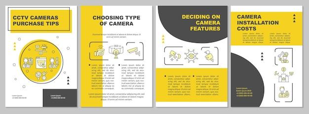 Выбор типа шаблона брошюры камеры. особенности камеры. флаер, буклет, печать листовок, дизайн обложки с линейными иконками. векторные макеты для презентаций, годовых отчетов, рекламных страниц