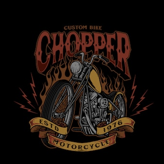 Chopper custom bike style vintage illustration