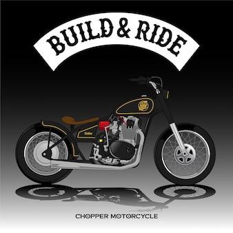 チョッパーバイクポスタープレミアムベクトル