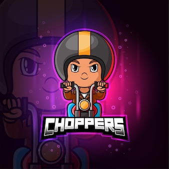 Чоппер байкер талисман киберспорт красочный логотип