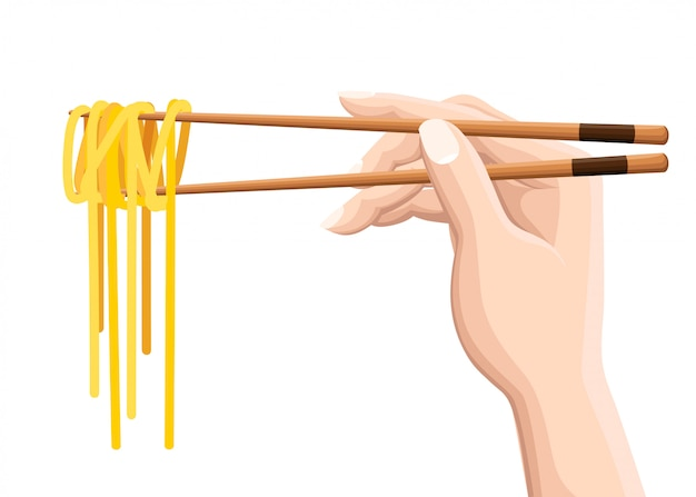 Chopsticks holding chinese noodles.  on white background. modern logotype   illustration
