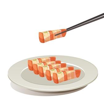 皿ベクトルに豚肉グリルを持っている箸