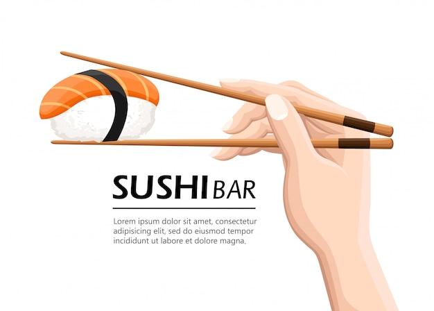 寿司ロールを保持している箸。スナック、susi、エキゾチックな栄養、寿司レストラン、シーフードのコンセプトです。白い背景の上。モダンなロゴタイプのイラスト