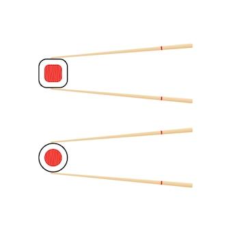 Chopsticks holding sushi roll. concept of snack, sushi, exotic nutrition, sushi restaurant.