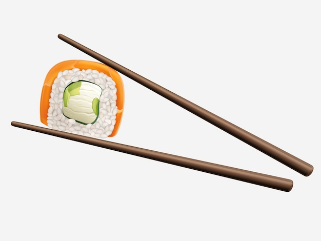 Chopsticks holding sushi roll isolated